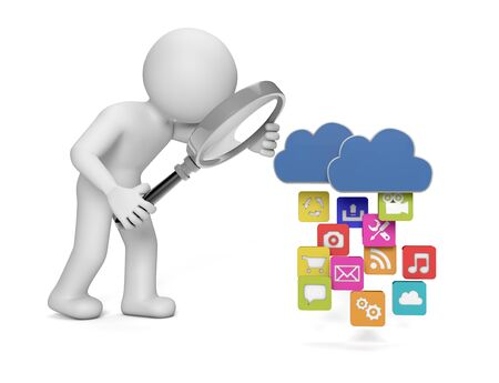 render of a man analyzing apps and archives that are uploading or downloading to the cloud Stock Photo