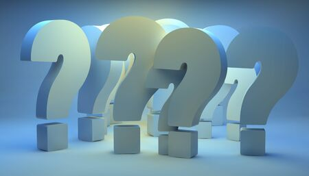 yelllow: render of a group of question marks with blue background