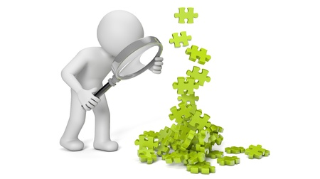 render of a man with a magnifying glass looking to puzzle pieces Stock Photo - 17086288