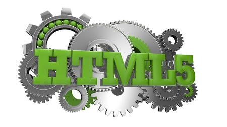 render of gears and the text html 5 Stock Photo - 17217072