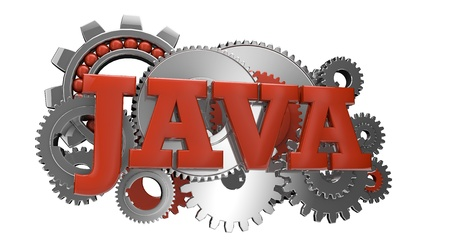computer language: render of gears and the text java Stock Photo