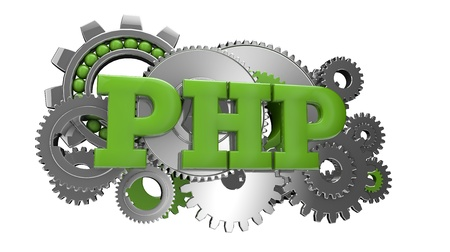 computer language: render of gears and the text php