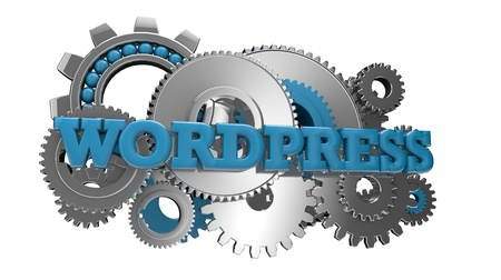 wordpress: render of gears and the text wordpress