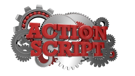 source code: render of gears and the text action script Stock Photo