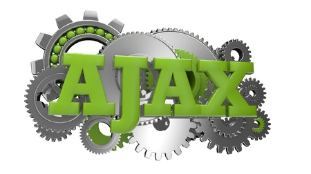 render of gears and the text ajax Stock Photo