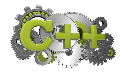 programming code: render of gears and the text c++