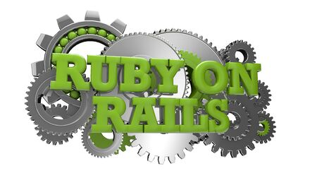 render of gears and the text ruby on rails Stock Photo - 18405646