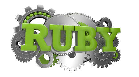 render of gears and the text ruby Stock Photo - 18405633
