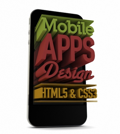 css3: render of an smartphone with text on the screen Stock Photo