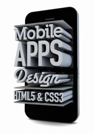 css3: render of a smartphone with text on the screen