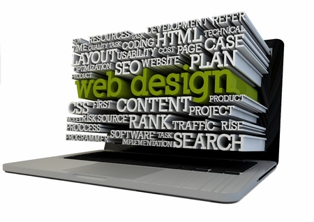 render of a laptop with text on the screen Stock Photo - 18571879