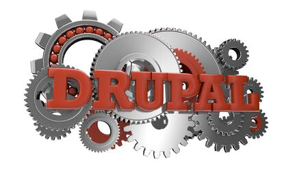 cms: render of gears and the text drupal Stock Photo