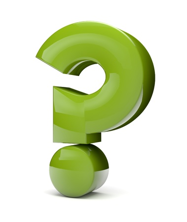 render of a green question sign Stock Photo