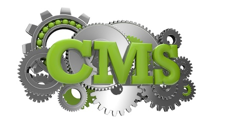 cms: render of a group of gears and the text CMS Stock Photo