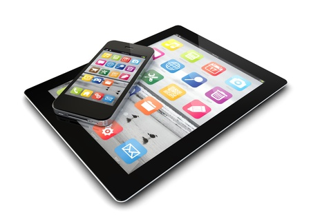 render of an smartphone and a tablet pc photo