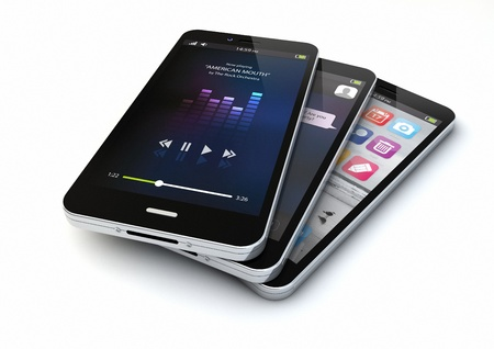 render of three smartphones with different apps on the screen photo
