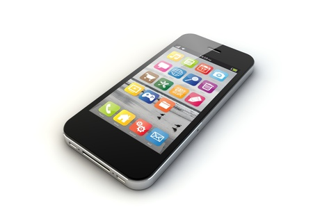 touch screen phone: render of an smart phone Stock Photo