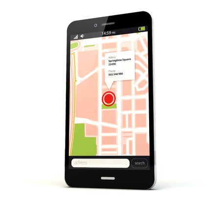 render of a phone with a map on the screen