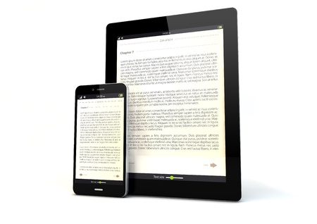 ibook: render of a tablet pc and a smart phone with a book app on the screen Stock Photo