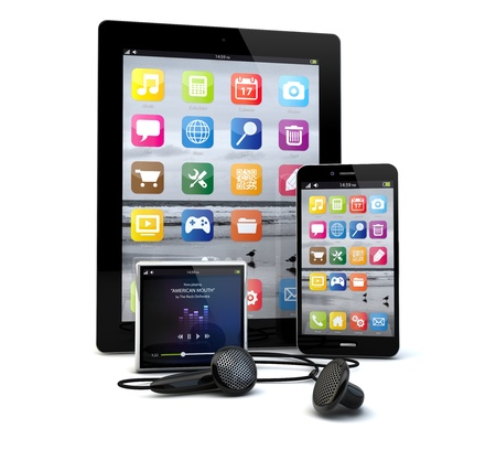 render of a group of gadgets: tablet pc, smart phone and a media player.