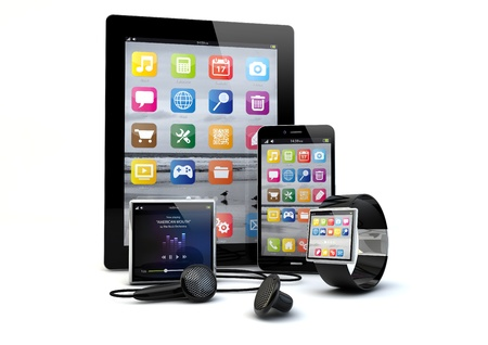render of a group of gadgets: tablet pc, smart phone, smart watch and a media player.