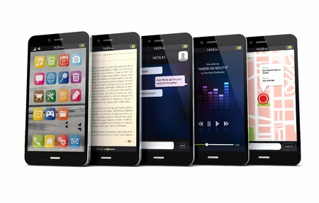 ibook: render of five smart phones with different apps on the screen