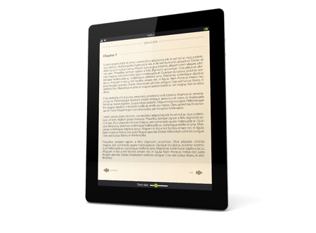 ibook: render of a tablet pc with ebook app on the screen
