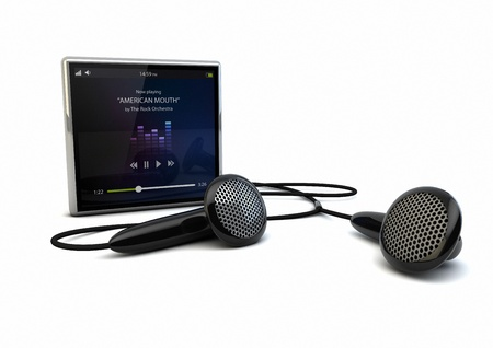 portable mp3 player: render of a multimedia player, music app on the screen Stock Photo