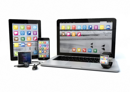 earphone: render of a group of gadgets: tablet pc, smart phone, laptop, smart watch and media player.