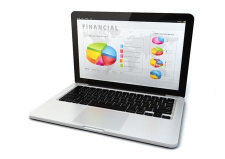 render of a computer  with a financial application photo