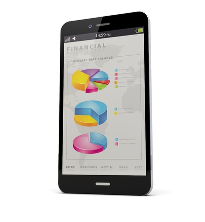 render of an smart phone with financial app on the screen photo