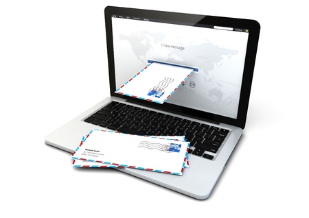 render of a laptop receiving email photo