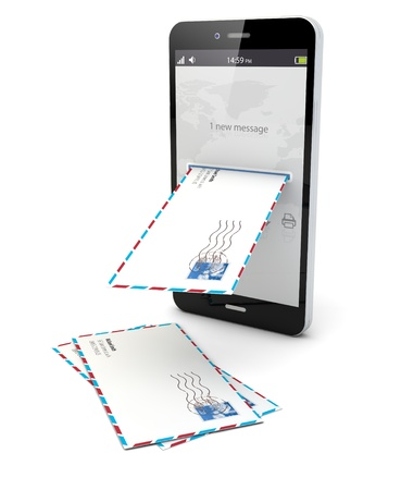 render of smartphone receiving mail Stock Photo - 21679510