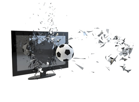 render of a tv broken by a soccer ball photo