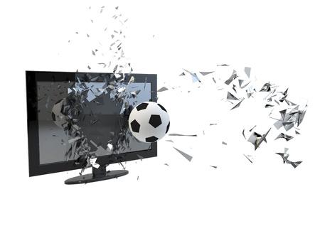 glass break: render of a tv broken by a soccer ball