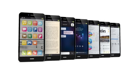 ibook: render of seven smart phones with different apps on the screen