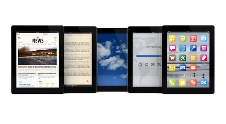 ibook: render of five tablets with different apps on the screen
