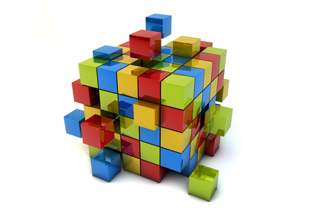 render of a group of cubes, teamwork metaphor