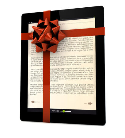 ibook: render of an ebook with a ribbon Stock Photo