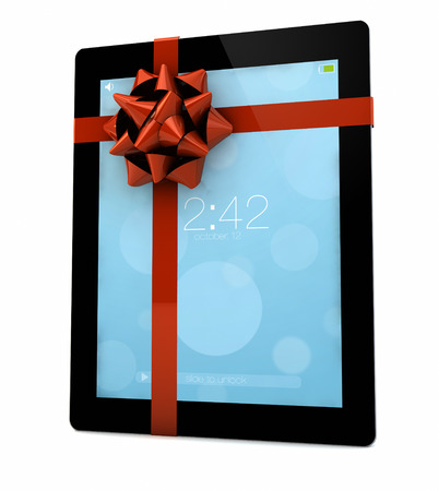 render of an ibook with a ribbon  photo