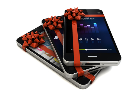 bow window: render of three smartphones with different screens and a ribbon Stock Photo