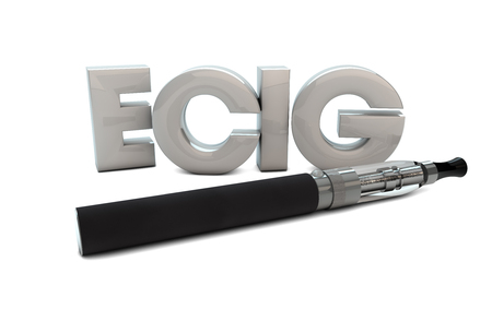 render of an electronic cigarette and the text ecig