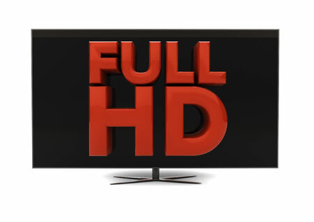 big screen tv: render of the text full hd on a screen Stock Photo