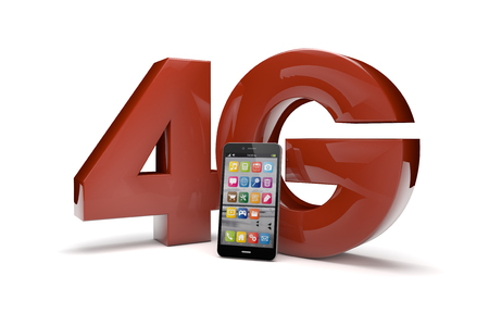 wireles: render of the text 4g and a smartphone