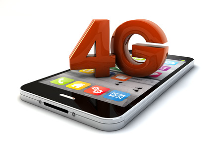 wireles: render of a 4g smartphone Stock Photo