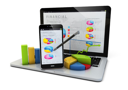 finance: render of an smartphone and a laptop with finances graphics