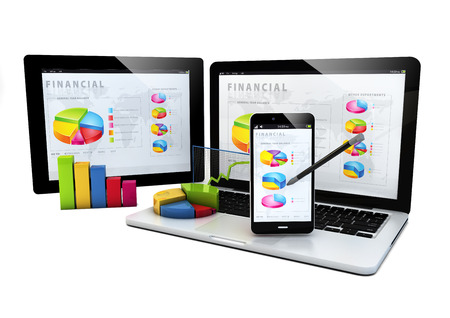 render of devices with financial graphics photo