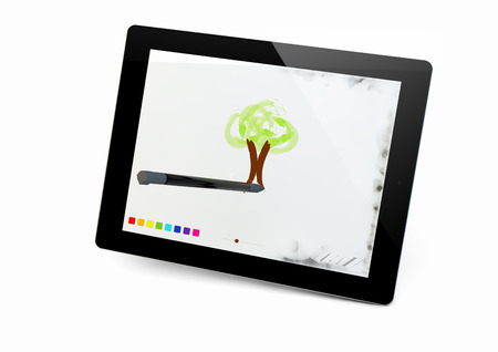 interactivity: render of a tablet with a draw app