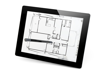 render of a projetc draw in a tablet photo