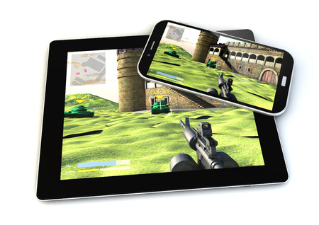 shooter: render of smartphone and tablet with a shooter game on the screen